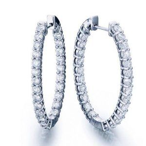 Jewelry - F Round cut 4.80 carats diamonds Hoop earrings
